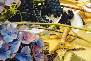 christmas star gold grapes hydrangea poc