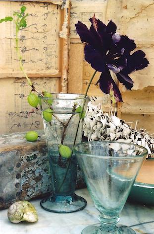 gooseberries clematis in glass pov